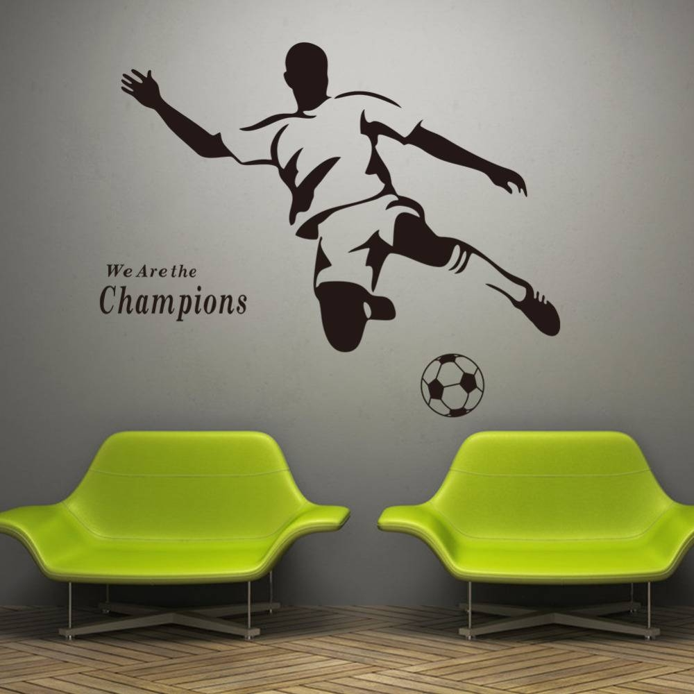 Football Boy Wallpaper 3d Wall Stickers 8257 For Kids Room Vinyl With Regard To Current Football 3d Wall Art (View 4 of 20)