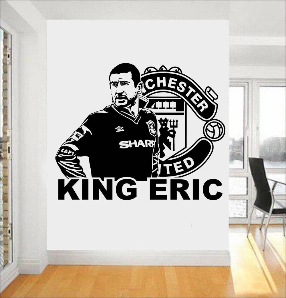 """Football Star Eric Cantona """"king Eric"""" Vinyl Wall Sticker Soccer Regarding Current Football 3d Wall Art (View 14 of 20)"""