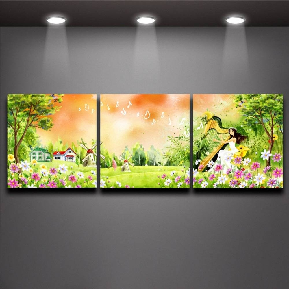 Forest Harp Fairy Multi Panel Paintings Wall Art Canvas Print Oil Regarding Current Oil Painting Wall Art On Canvas (View 9 of 20)