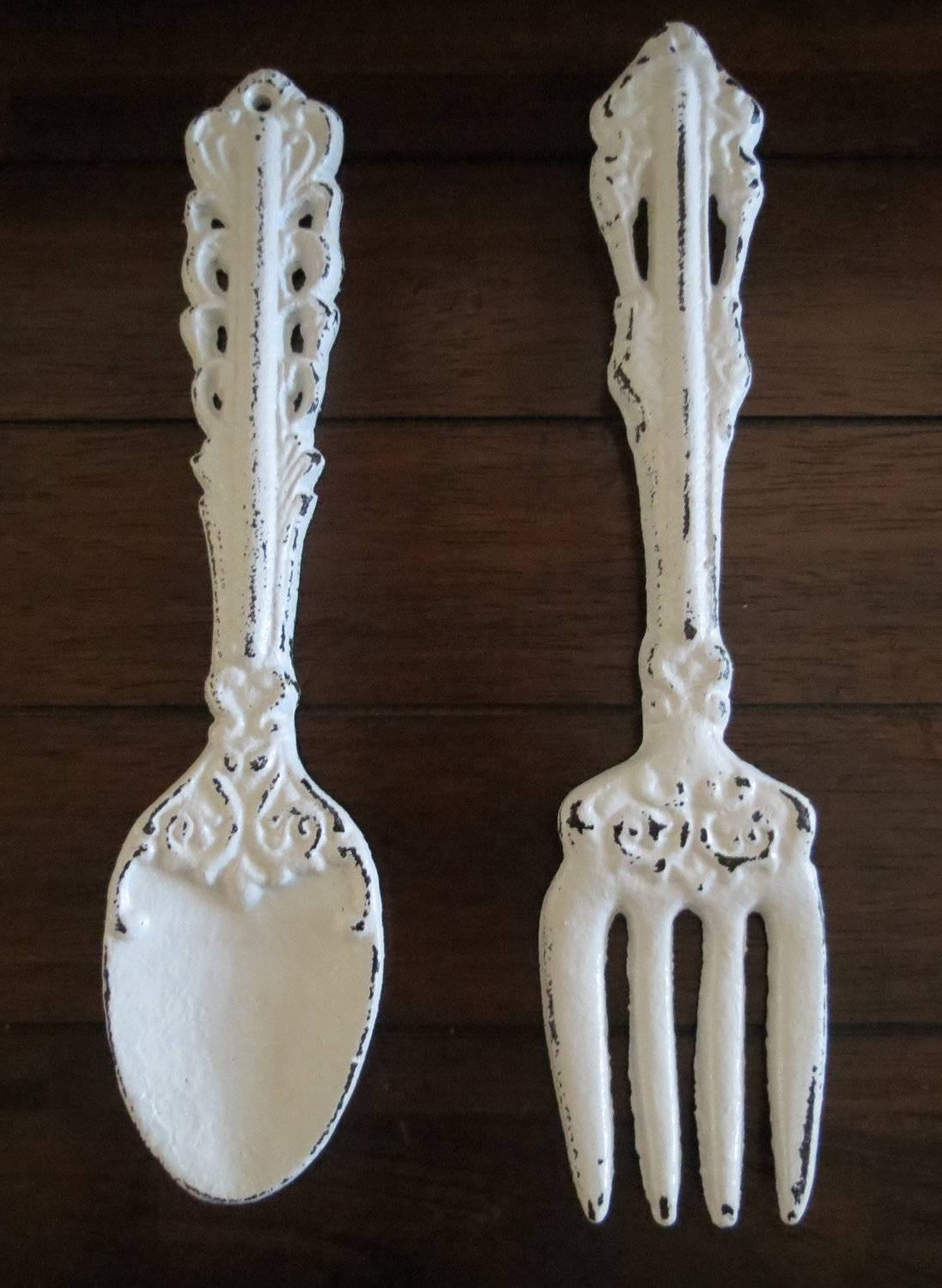 Fork And Spoon Wall Art / Antique White Or Pick Color / Large Within Newest Oversized Cutlery Wall Art (View 3 of 20)