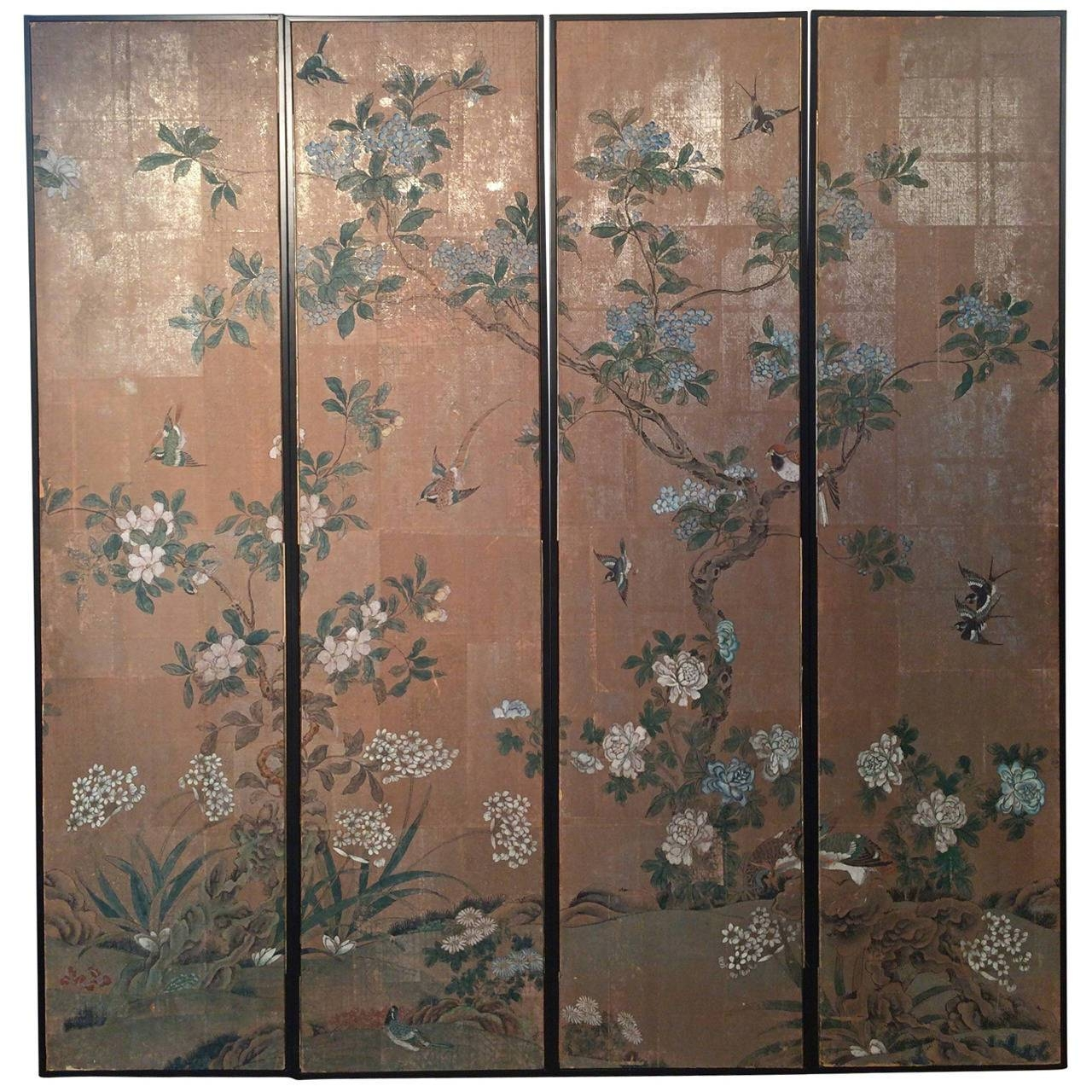 Four Framed Vintage Gracie Chinoiserie Wallpaper Panels At 1Stdibs With Recent Chinoiserie Wall Art (View 14 of 30)