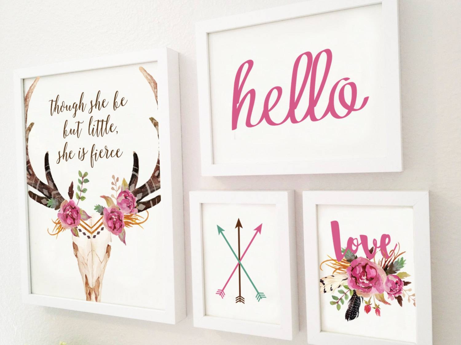 Four Piece Gallery Wall Set Children's Room Art Rustic Pertaining To Most Up To Date Wall Art Print Sets (View 18 of 20)