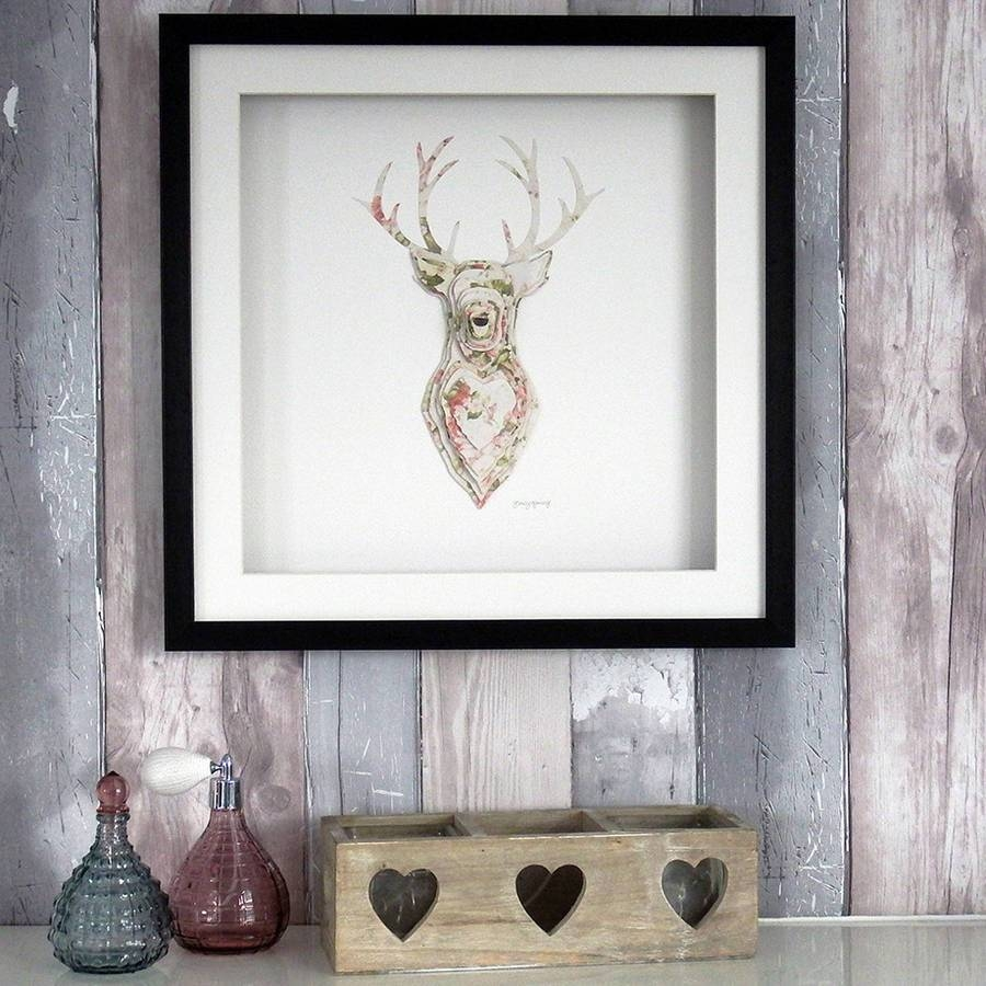 Framed 3D Stag Artworkdaisy Maison | Notonthehighstreet Intended For Most Recent Framed 3D Wall Art (View 11 of 20)