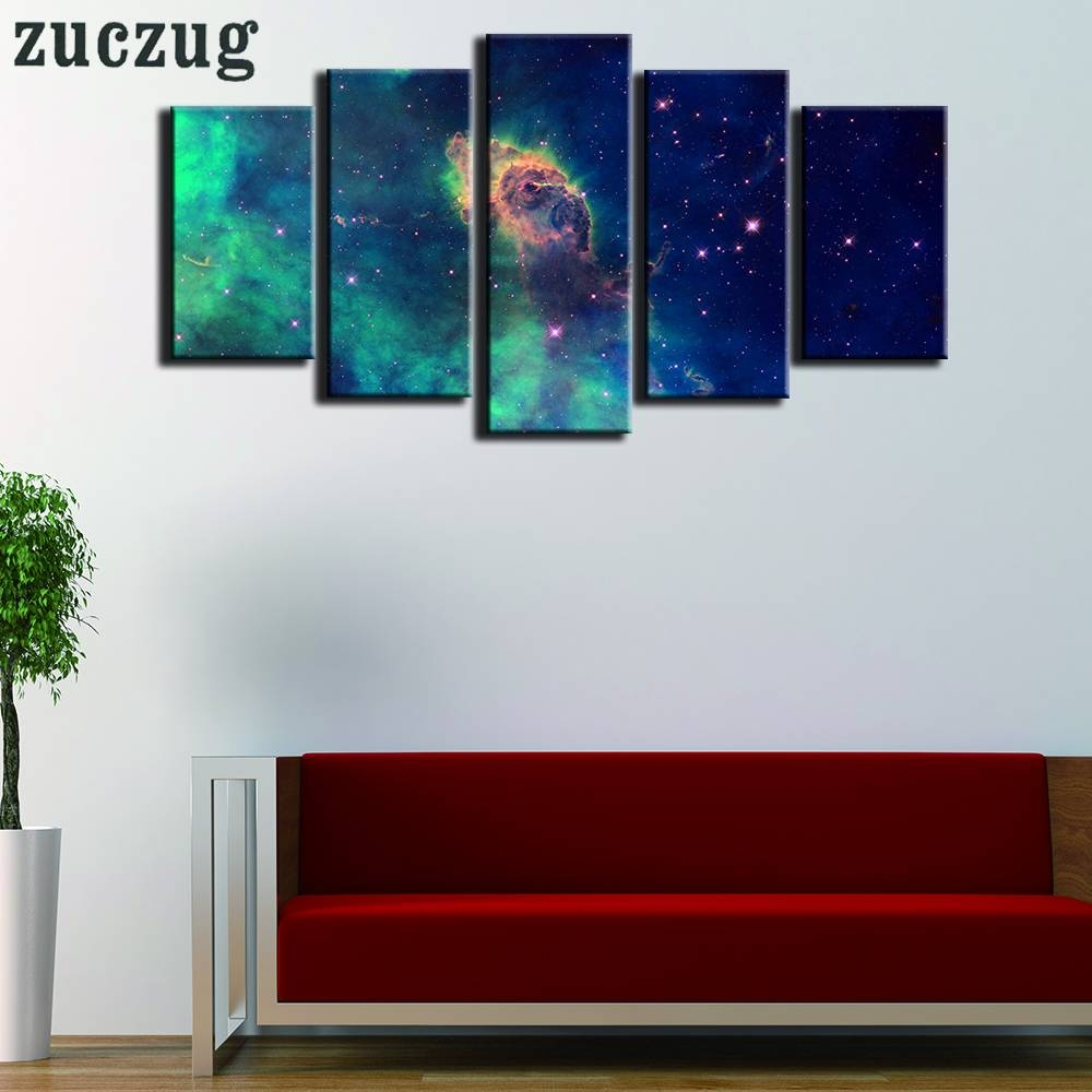 Framed 5 Pieces Hd Print Outer Space Stars Wall Art Picture For Inside Most Popular Outer Space Wall Art (View 16 of 25)