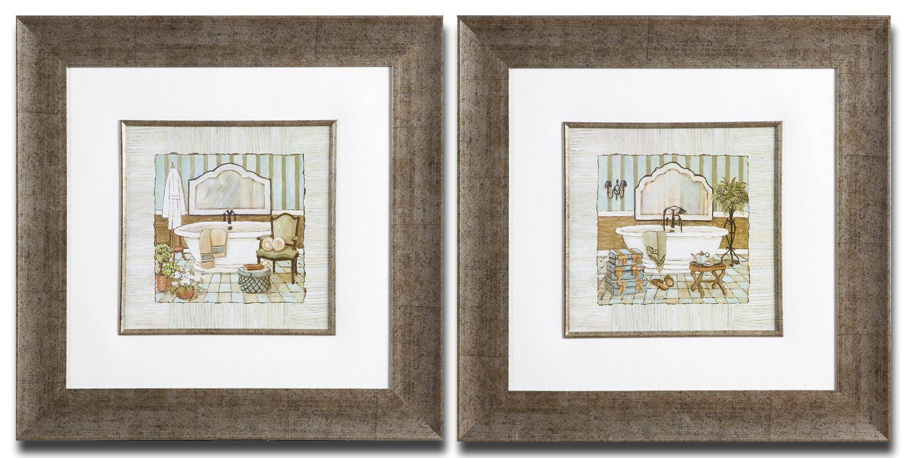 Framed Art For Bathroom, French Bathroom Prints Vintage Bathroom Pertaining To Recent Wall Art Print Sets (View 4 of 20)