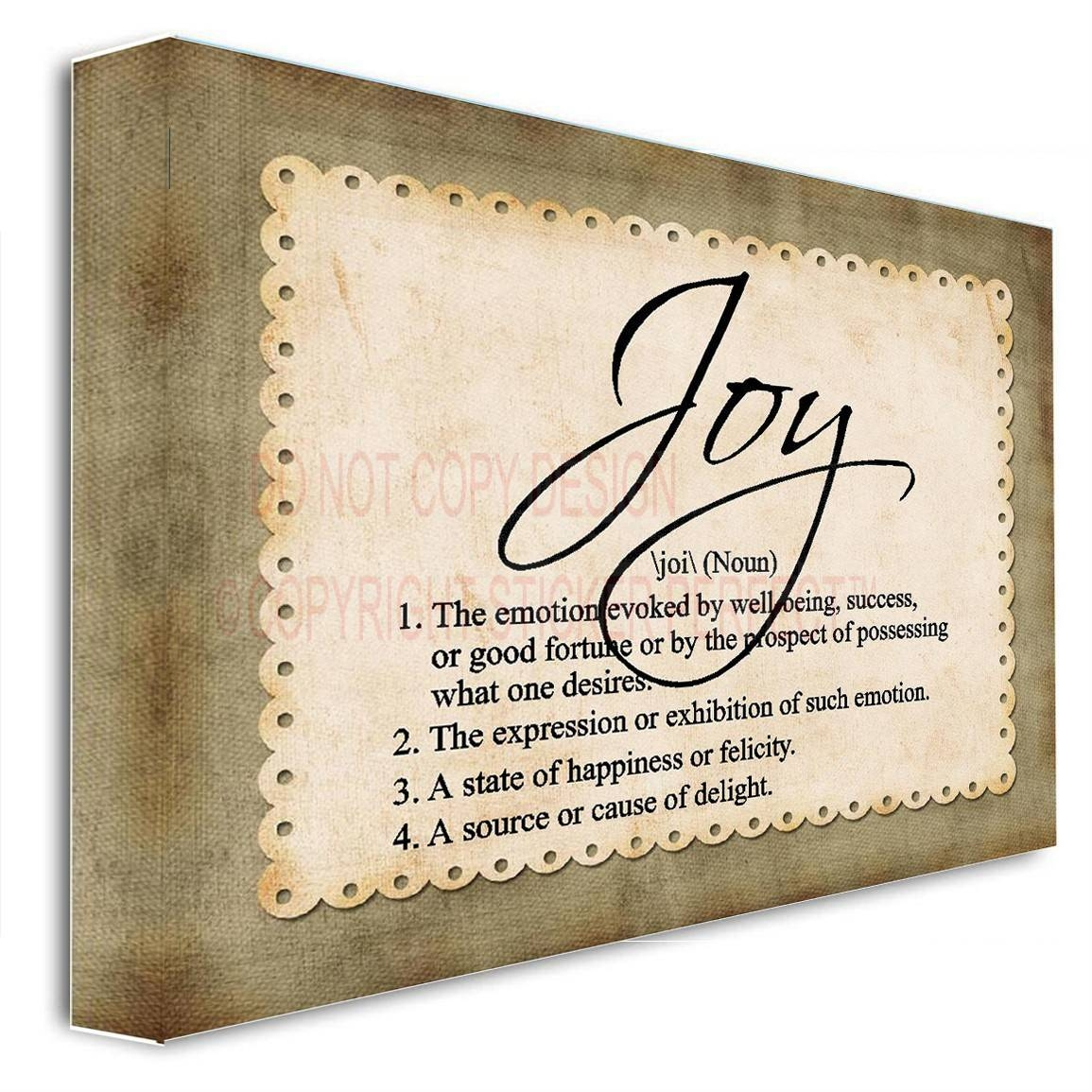 Framed Canvas Print Joy (noun) Definition Inspirational Wall Art Intended For 2018 Inspirational Wall Plaques (View 7 of 20)