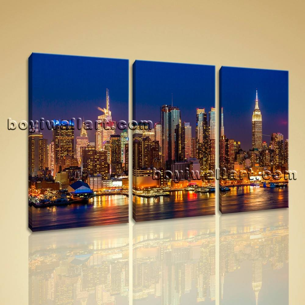 Framed Modern Cityscape Print Wall Art On Canvas Night Scene Throughout Most Popular Cityscape Canvas Wall Art (View 6 of 20)