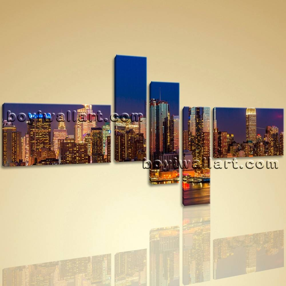 Framed Modern Cityscape Print Wall Art On Canvas Night Scene With Most Popular Cityscape Canvas Wall Art (View 13 of 20)