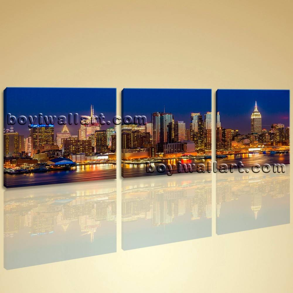 Framed Modern Cityscape Print Wall Art On Canvas Night Scene With Regard To Current Cityscape Canvas Wall Art (View 11 of 20)