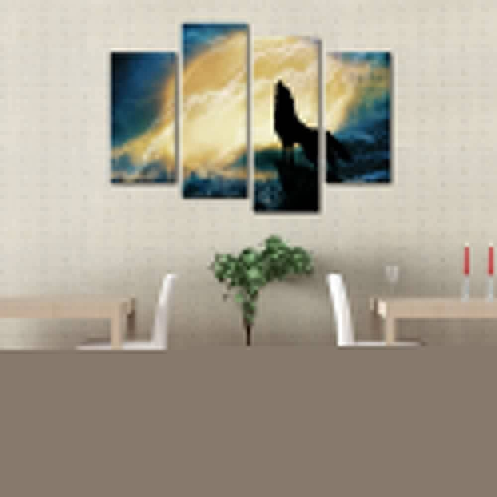 Framed Wall Art Crying Wolf And Moon Canvas Painting Art Print Pertaining To 2017 Art Prints To Hang On Your Wall (View 8 of 15)