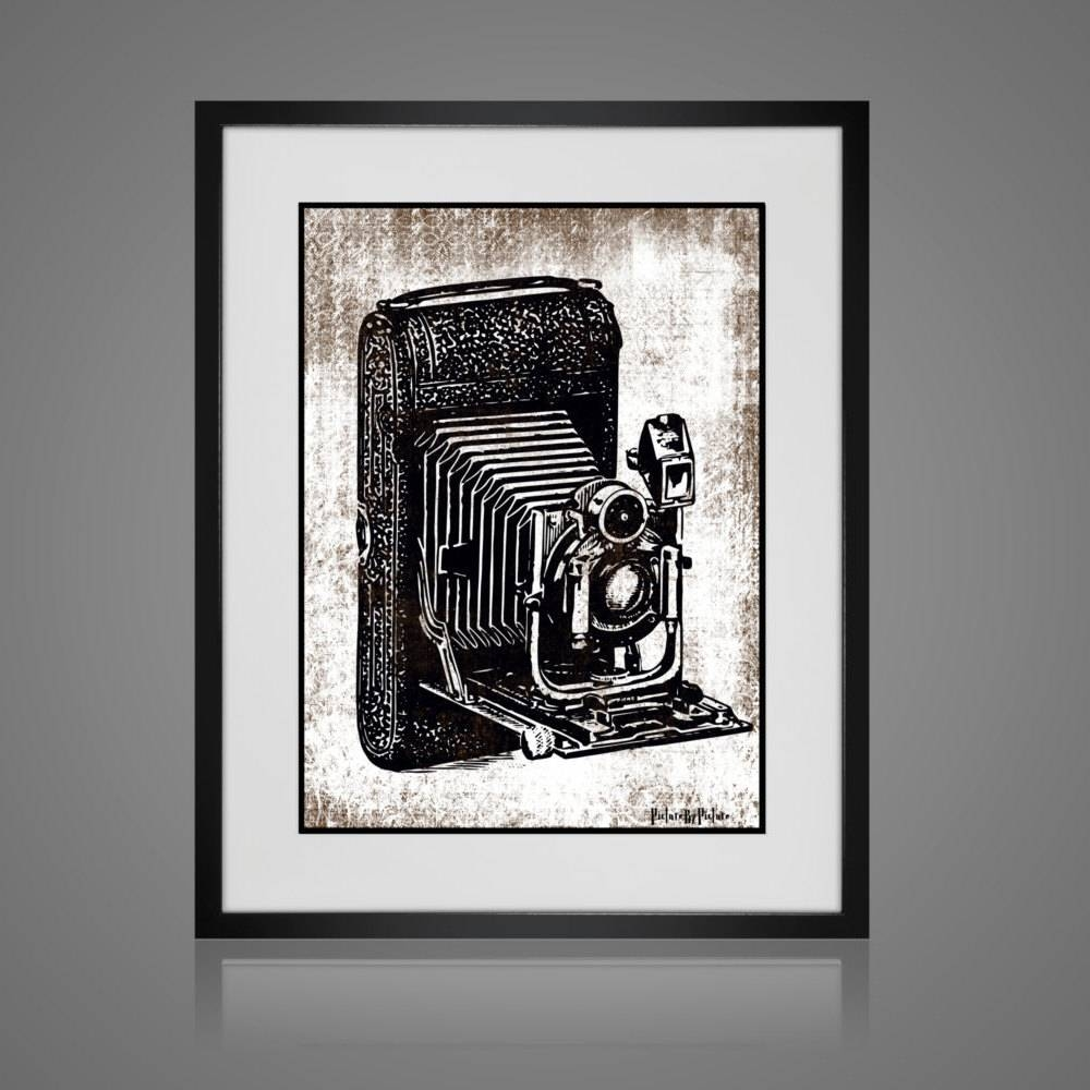 Framed Wall Art – Free Shipping – Vintage Camera Print – Wall Art Within Most Current Black And White Framed Wall Art (View 7 of 20)