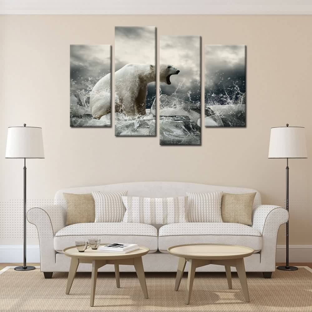 Framed Wall Art Home Decor Polar Bear Canvas Painting Art Print Within Most Up To Date Art Prints To Hang On Your Wall (View 7 of 15)