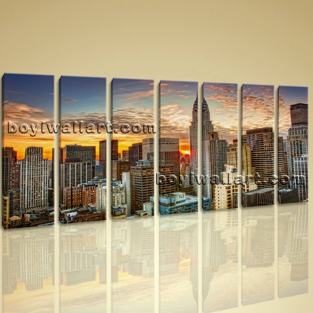 Framed Wall Art New York City Landscape Sunset Picture Print On Canvas Pertaining To Latest Large Framed Wall Art (View 10 of 20)