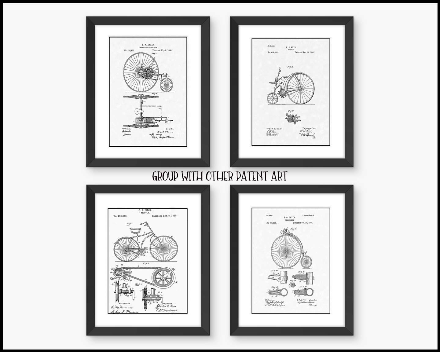 Framed Wall Art – Vintage Bicycle Patent  Free Shipping – Wall Art With Regard To 2017 Black And White Wall Art Sets (View 15 of 20)