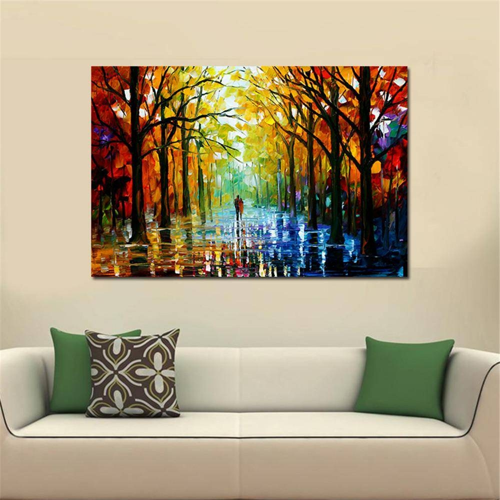 Frameless Huge Wall Art Oil Painting On Canvas Forest Road Wall In Recent Huge Wall Art (View 3 of 20)