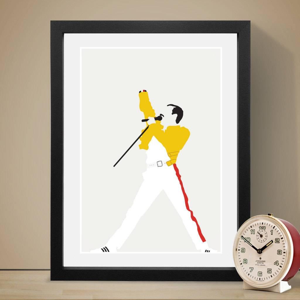 Freddie Mercury Poster Music Poster Music Print Art Print Pertaining To Current Freddie Mercury Wall Art (View 4 of 15)