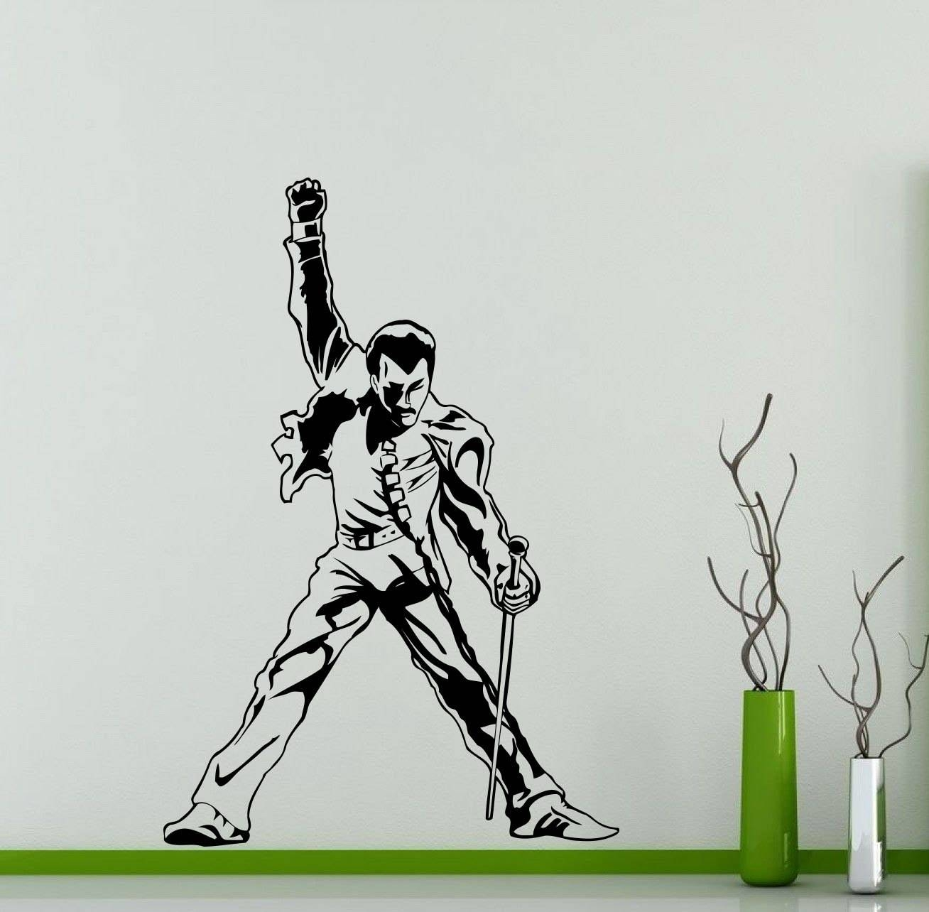 Freddie Mercury Wall Decal Queen Metal Rock Music Band Vinyl Pertaining To Latest Freddie Mercury Wall Art (View 6 of 15)