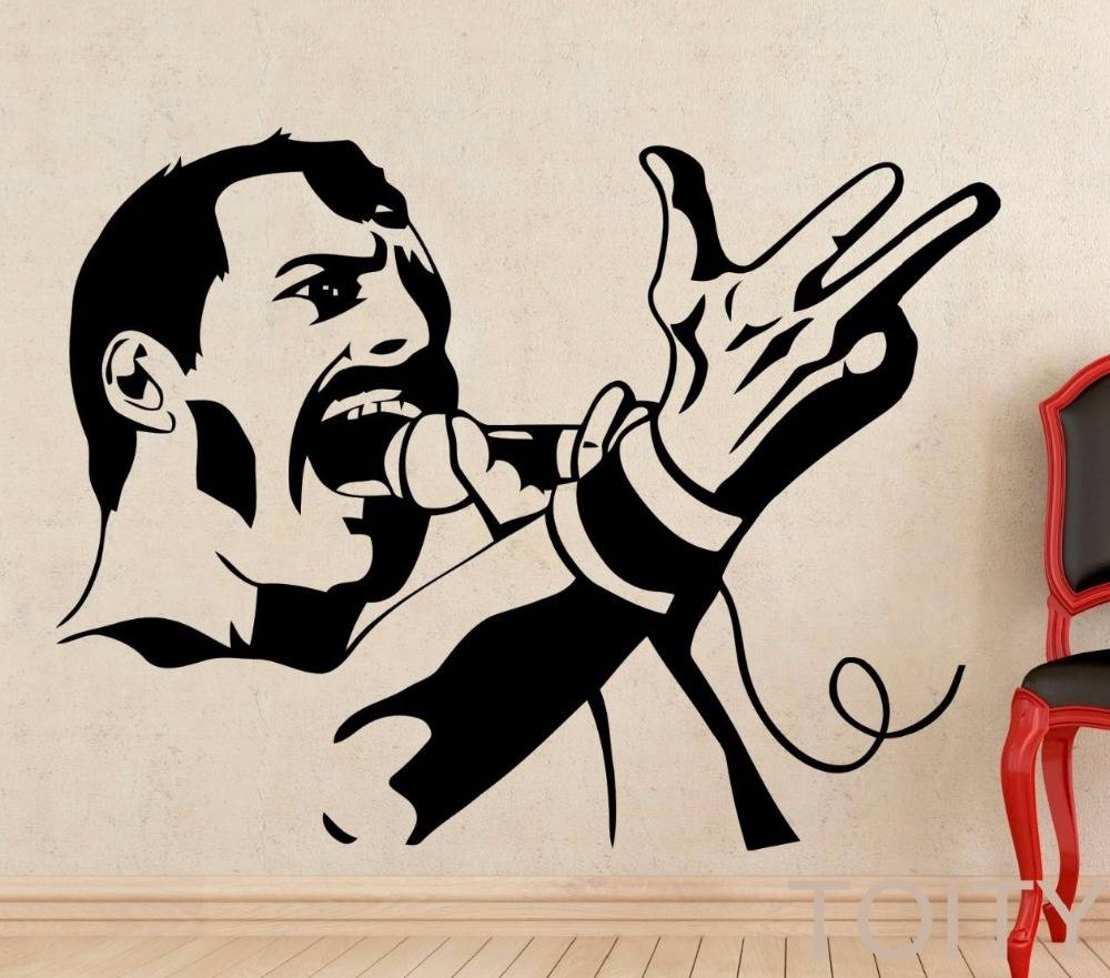 Freddie Mercury Wall Decal Rock Music Queen Vinyl Sticker Retro Regarding Most Recently Released Freddie Mercury Wall Art (View 12 of 15)
