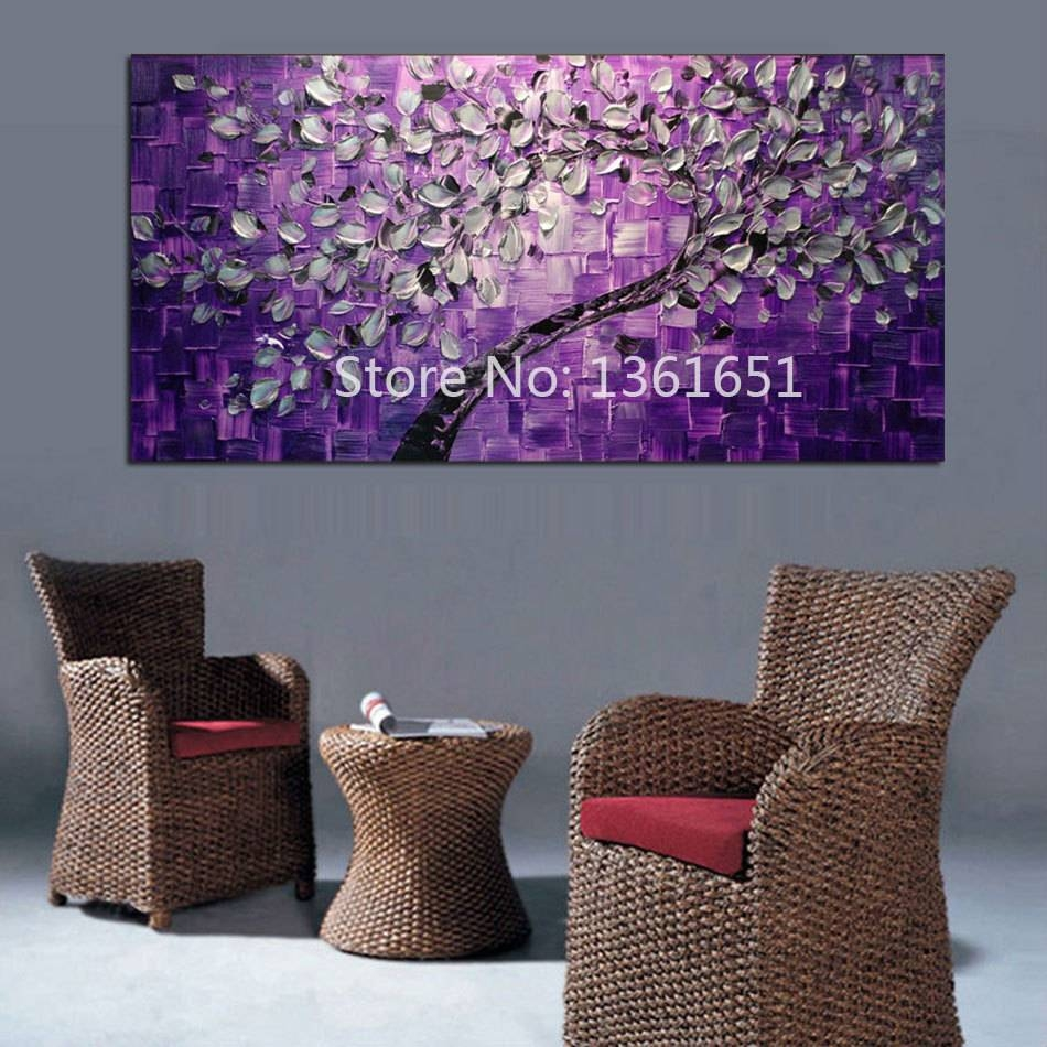 Free Shipping 100% Hand Painted Oil Painting Abstract Wall Art Pertaining To Most Recent Purple Abstract Wall Art (View 13 of 20)