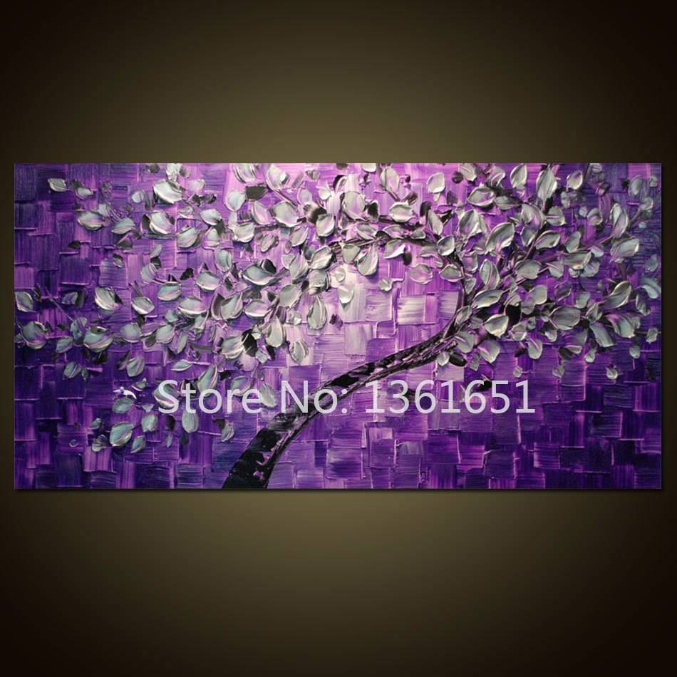 Free Shipping 100% Hand Painted Oil Painting Abstract Wall Art Within Most Up To Date Purple Abstract Wall Art (View 14 of 20)