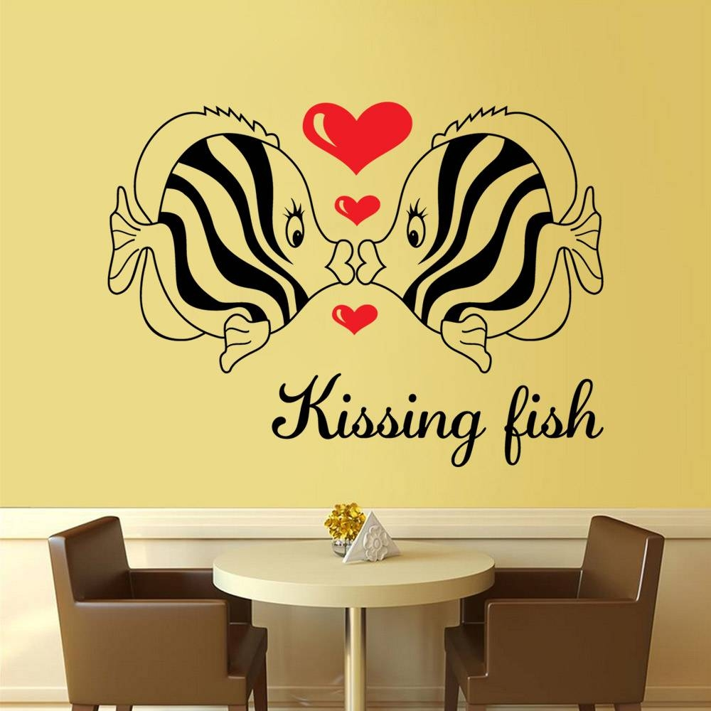 Free Shipping Diy Wall Art Decal Decoration Kissing Fish Love Wall Pertaining To Best And Newest Heart 3d Wall Art (View 18 of 20)