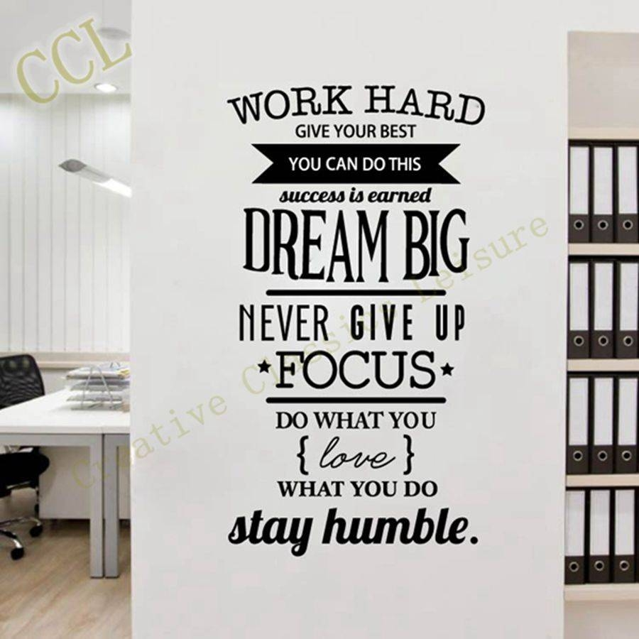 Free Shipping Motivation Wall Decals Office Room Decor Never Give Intended  For Most Recently Released Inspirational