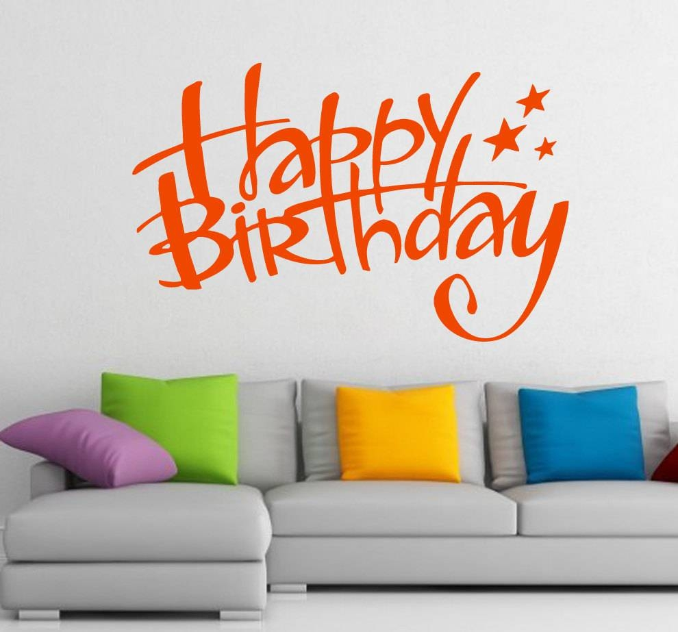 Free Shipping Wall Decals Happy Birthday Lettering Stars Throughout Most Recent Happy Birthday Wall Art (View 2 of 20)
