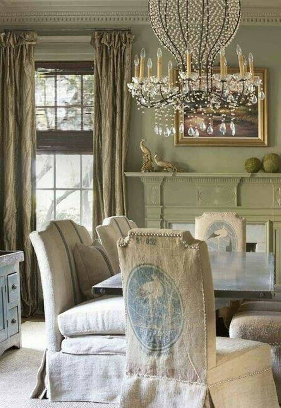 French Country Dining Room Ideas With Chandelier And Wooden Table With Regard To Most Popular Country French Wall Art (View 13 of 30)