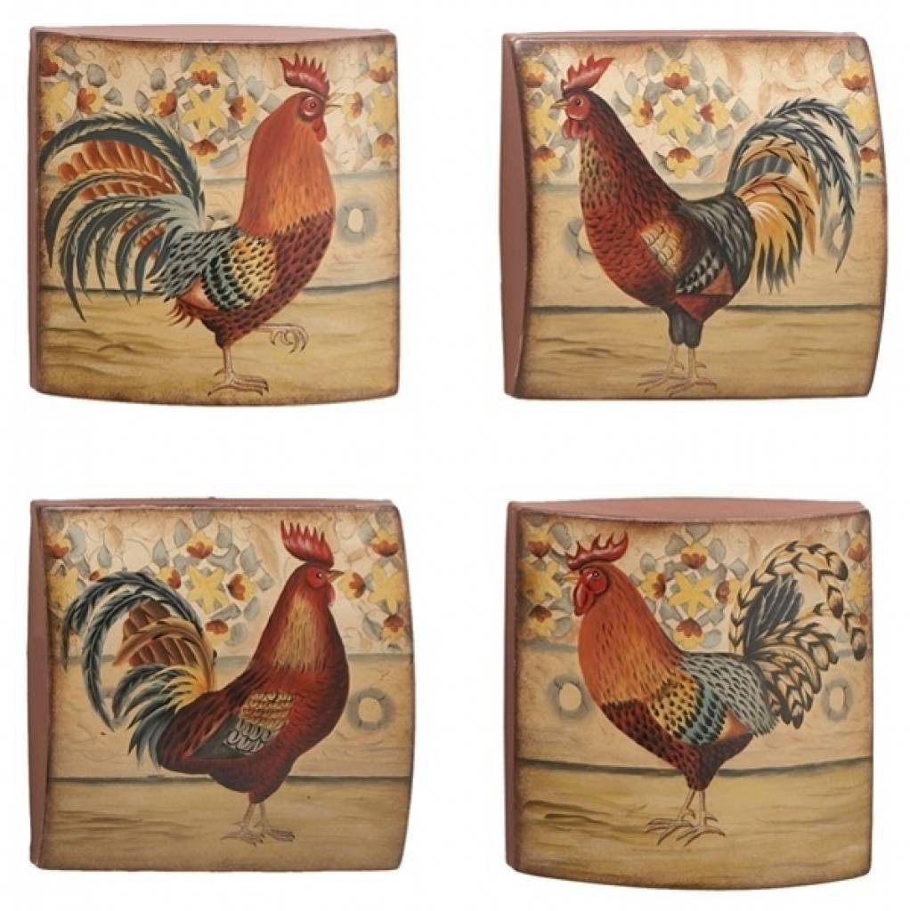 French Country Kitchen Rooster Motif | Rustic Rooster And Hen Inside Recent Metal Rooster Wall Decor (View 20 of 25)