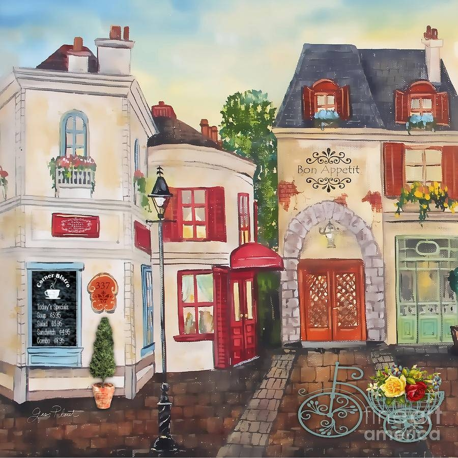 French Street Scene Jp3206 Paintingjean Plout Regarding Most Recent Street Scene Wall Art (View 18 of 25)
