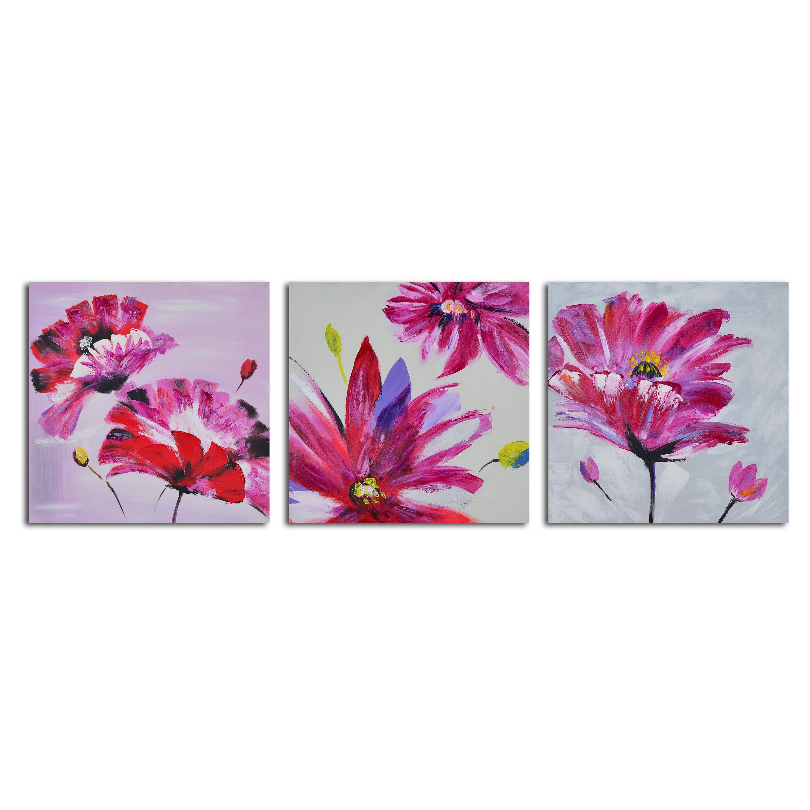 Frenzy Of Fuschia Florals 3 Piece Canvas Wall Art Set | Hayneedle With Latest Canvas Wall Art 3 Piece Sets (View 16 of 20)