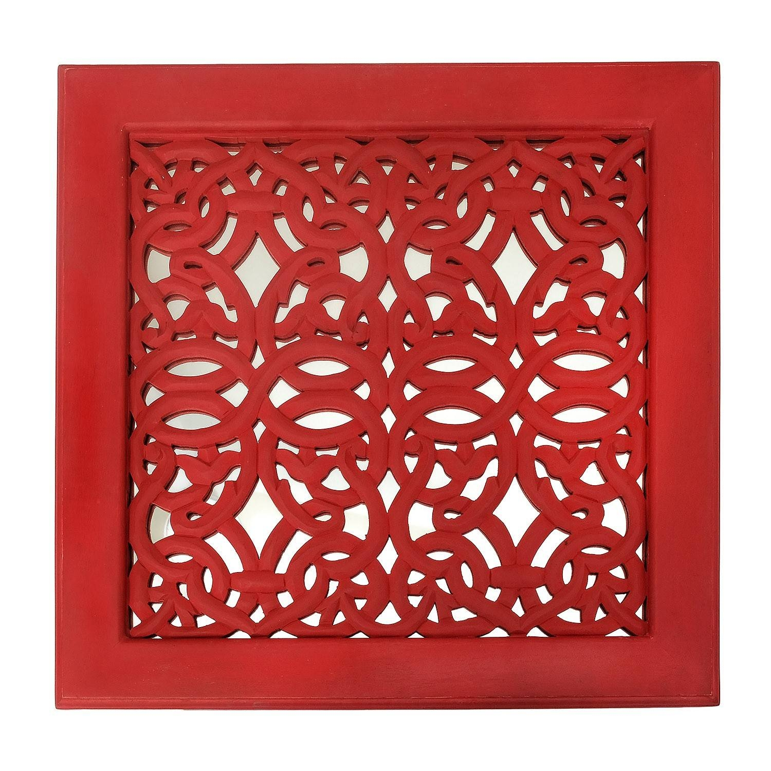 Fretwork Wall Art: Red (Set Of 3) | The Yellow Door Store With Most Up To Date Fretwork Wall Art (View 7 of 25)