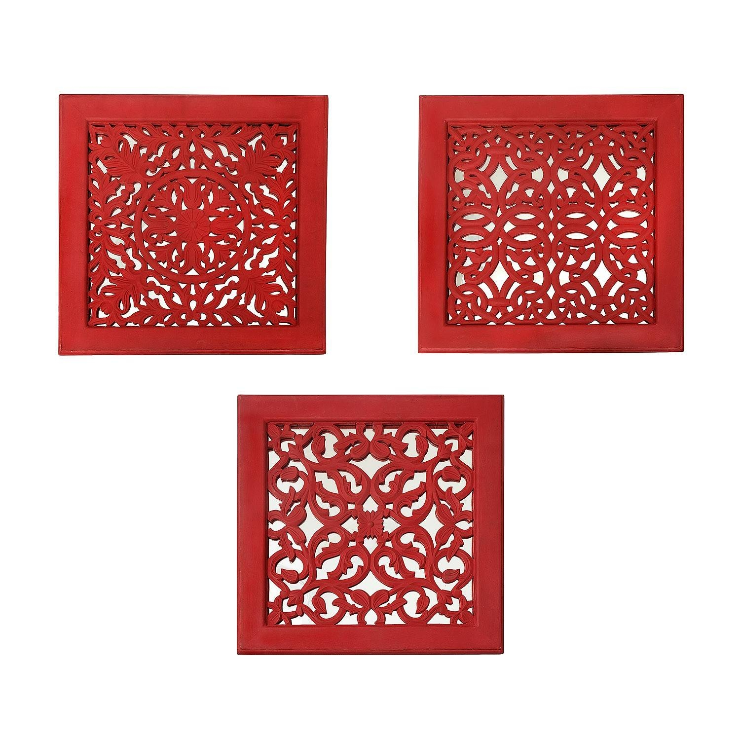 Fretwork Wall Art: Red (Set Of 3) | The Yellow Door Store With Regard To Most Popular Fretwork Wall Art (View 8 of 25)