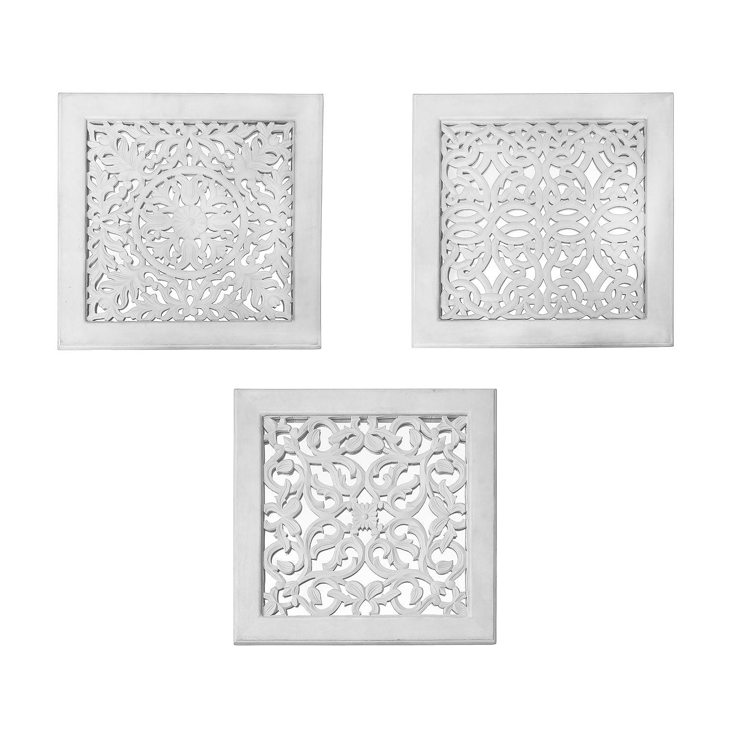 Fretwork Wall Art: White (Set Of 3) | The Yellow Door Store With Regard To 2017 Fretwork Wall Art (View 13 of 25)