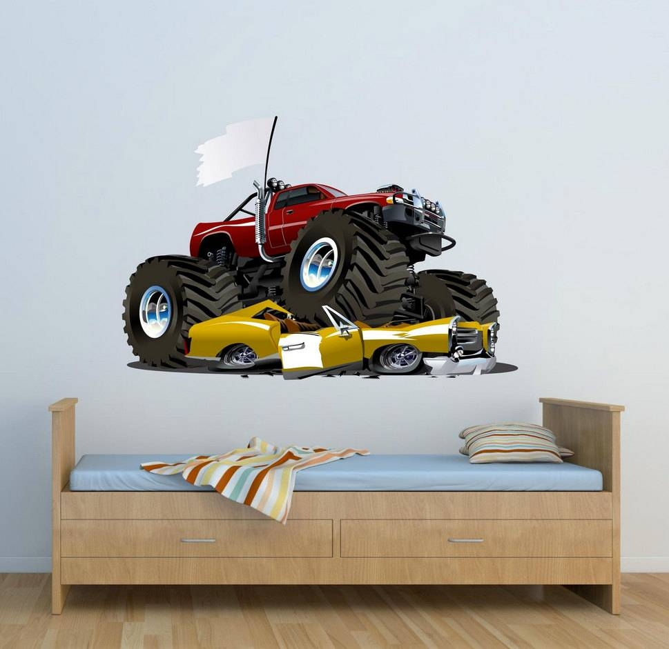 Full Colour Monster Truck Wall Decal Car Wall Art Sticker With Most Recent Cars 3D Wall Art (View 14 of 20)