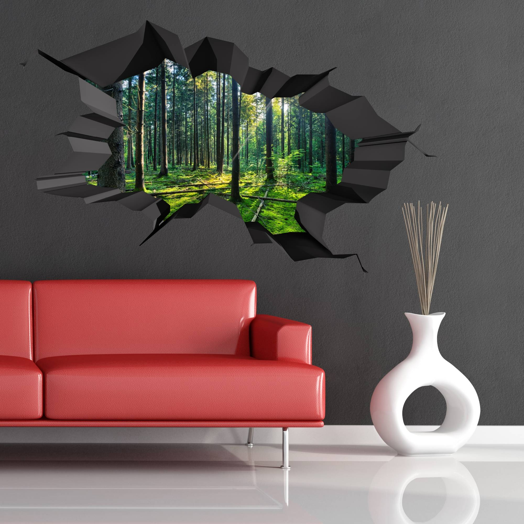 Full Colour Woods Forest Trees Jungle Cracked 3D Wall Art Sticker Throughout Best And Newest Venezuela Wall Art 3D (View 11 of 20)