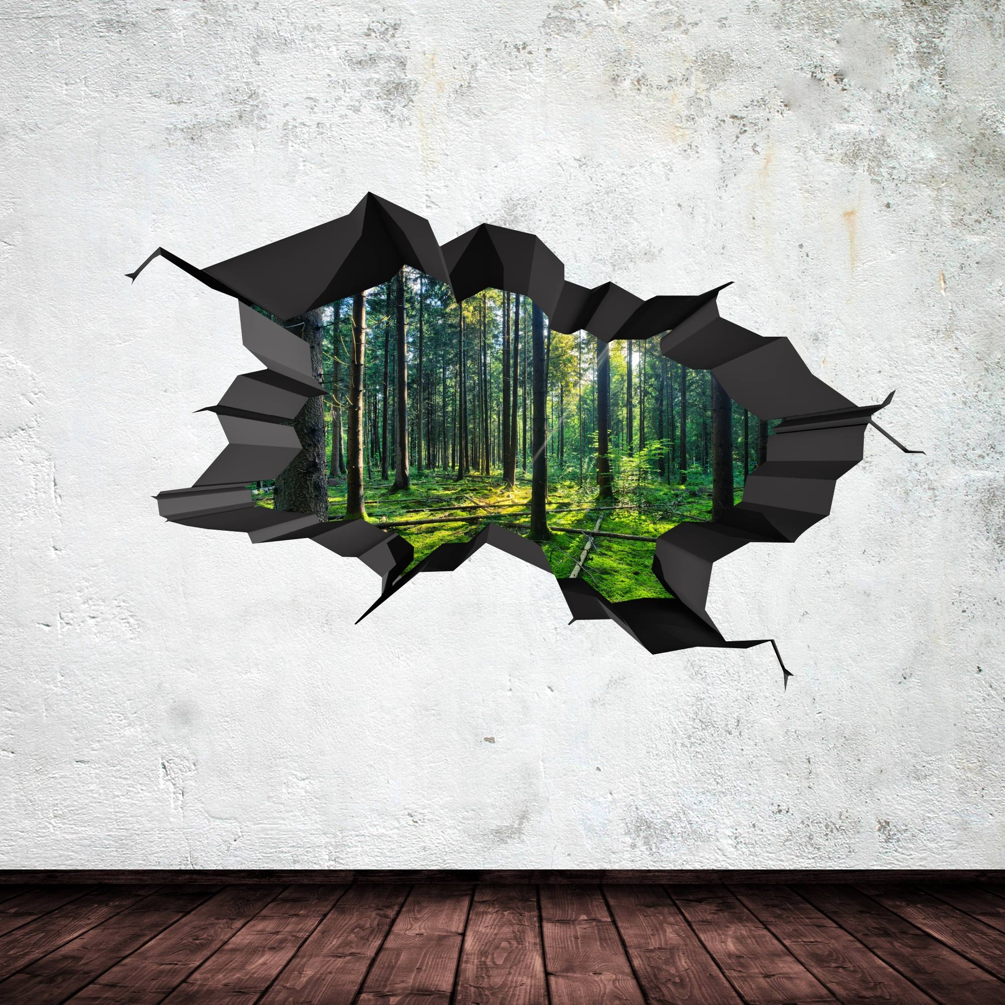 Full Colour Woods Forest Trees Jungle Cracked 3D Wall Art Sticker With Regard To Most Popular Venezuela Wall Art 3D (View 12 of 20)