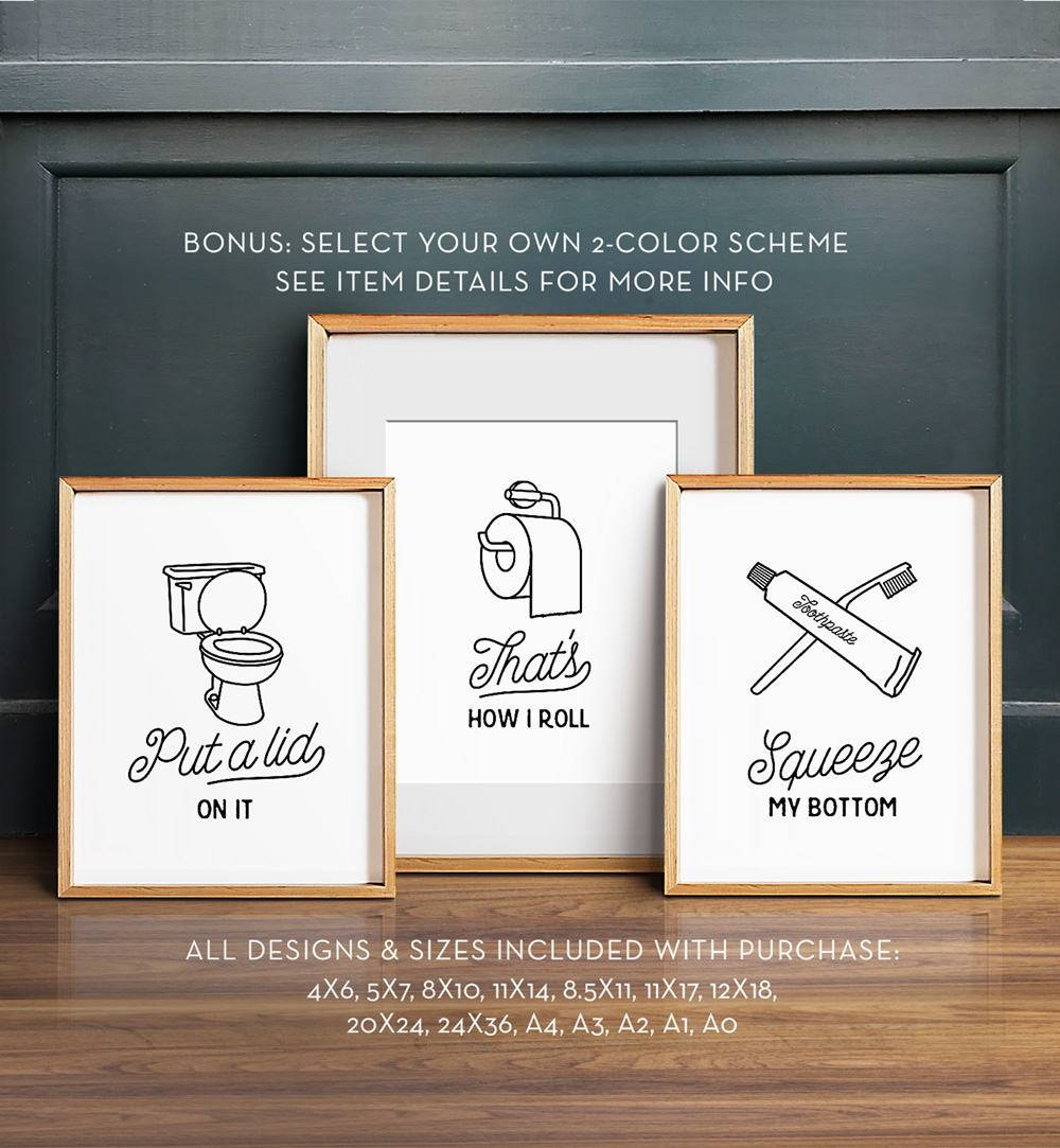 Funny Wall Art Bathroom Art Printable Art Set Of 3 In Most Recent Shower Room Wall Art (View 11 of 15)