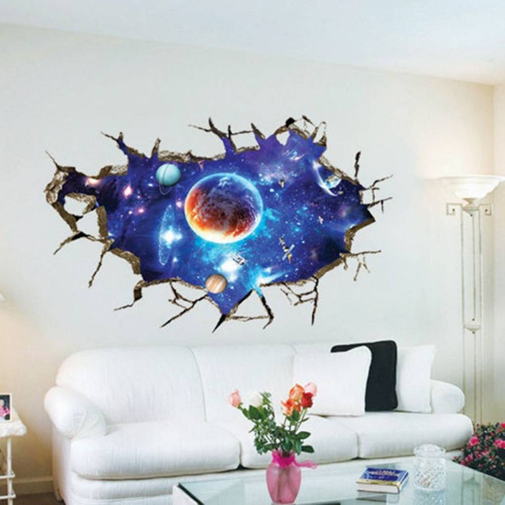 Galaxy Planet Space Wall Sticker For Kids Boys Bedroom Art Vinyl Inside Most Recently Released Space 3D Vinyl Wall Art (Gallery 5 of 20)