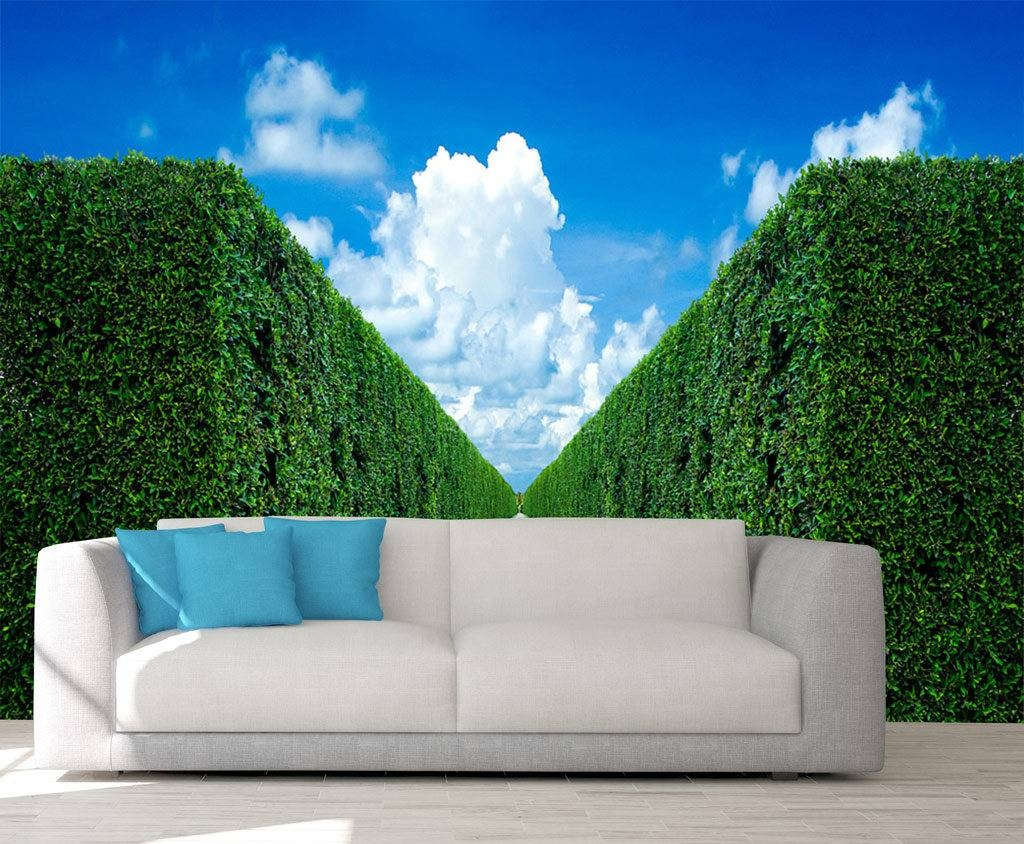 Garden Wall Mural, Wall Mural 3D, Wallpaper Bushes, Wall Decal Pertaining To Recent 3D Garden Wall Art (View 11 of 20)