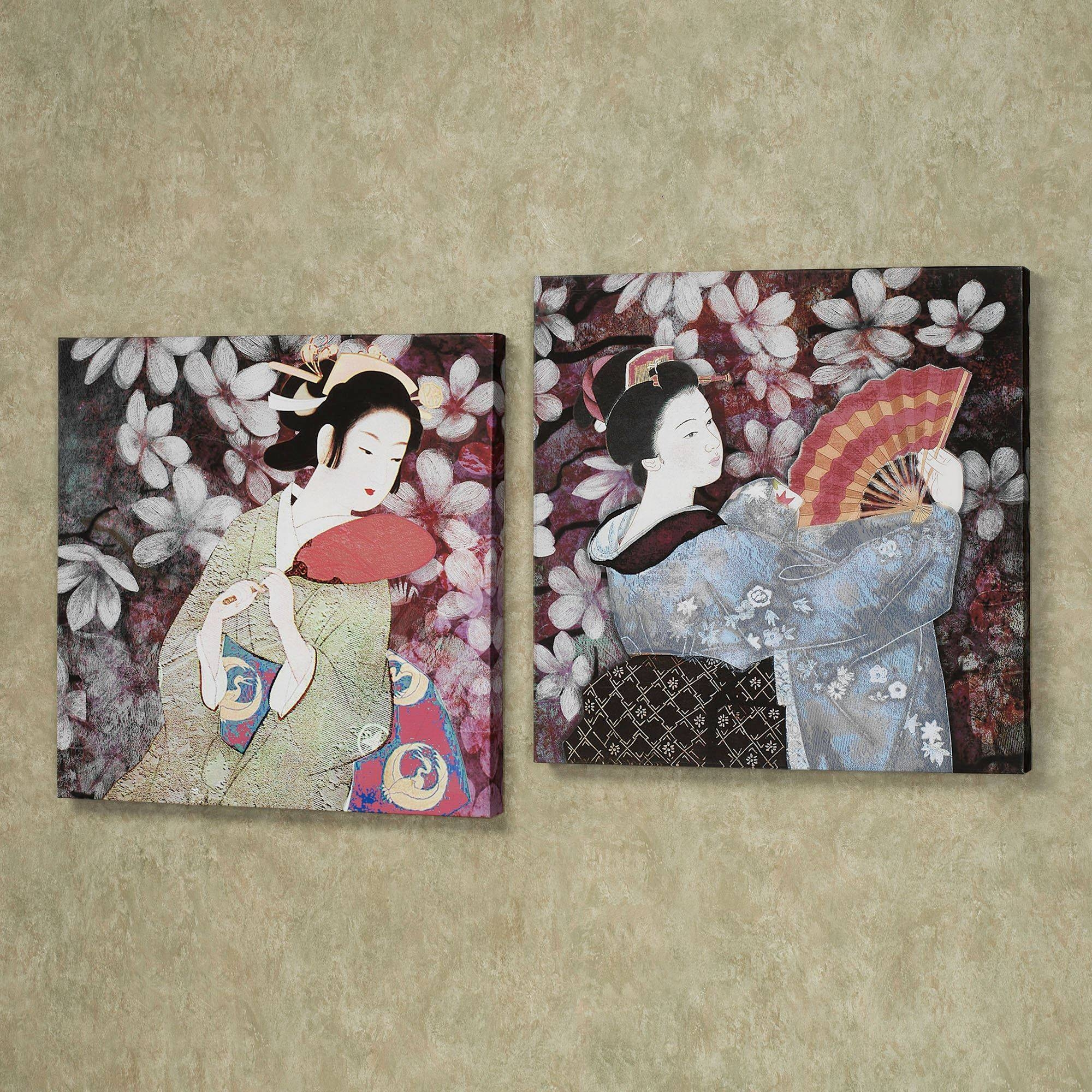 Geisha Gardens Giclee Canvas Wall Art Set Within Most Recently Released Geisha Canvas Wall Art (View 9 of 20)