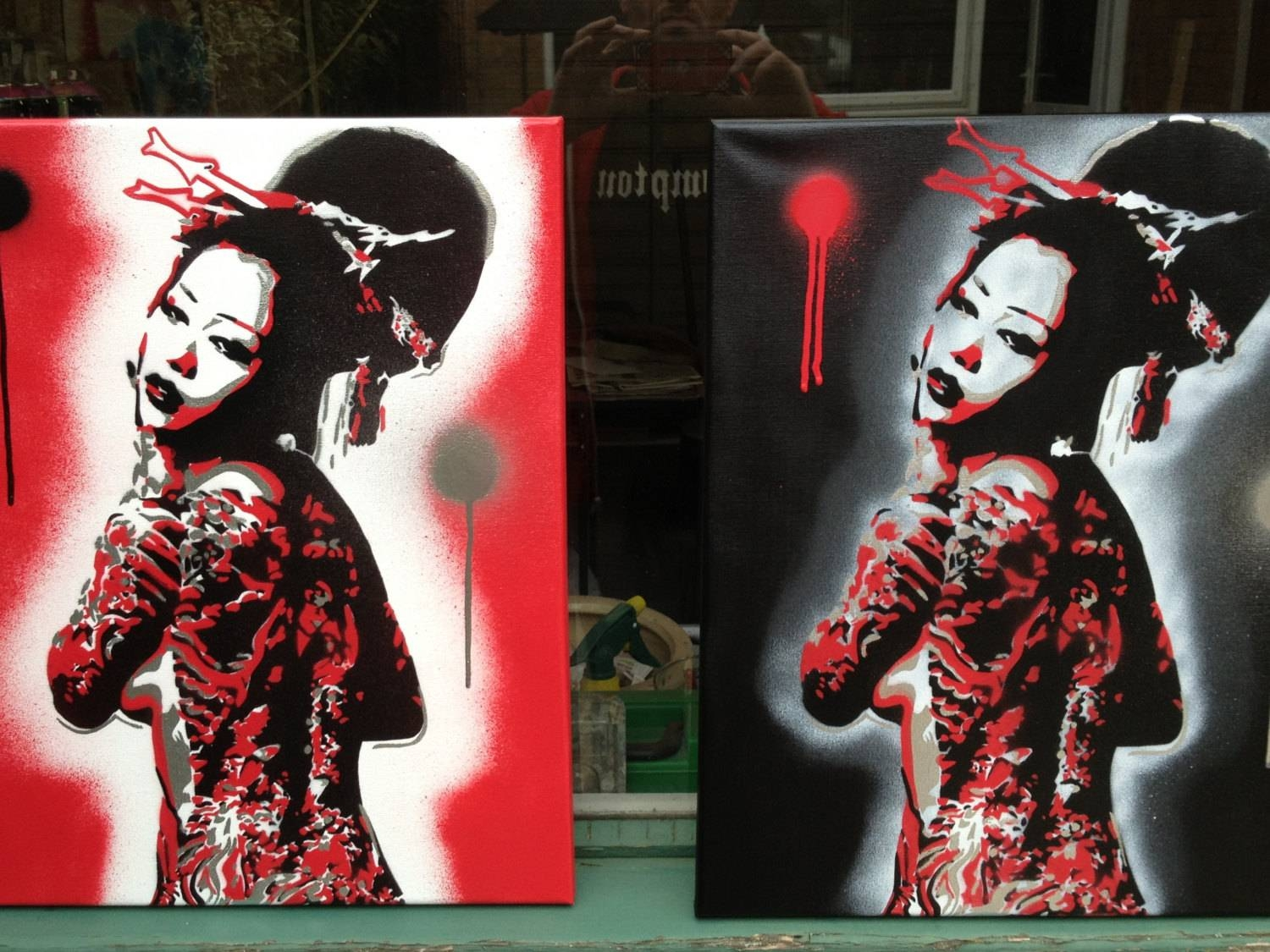Geisha Painting Nude Tattooed Girl Stencil Art Spray Paints Intended For 2018 Geisha Canvas Wall Art (View 10 of 20)
