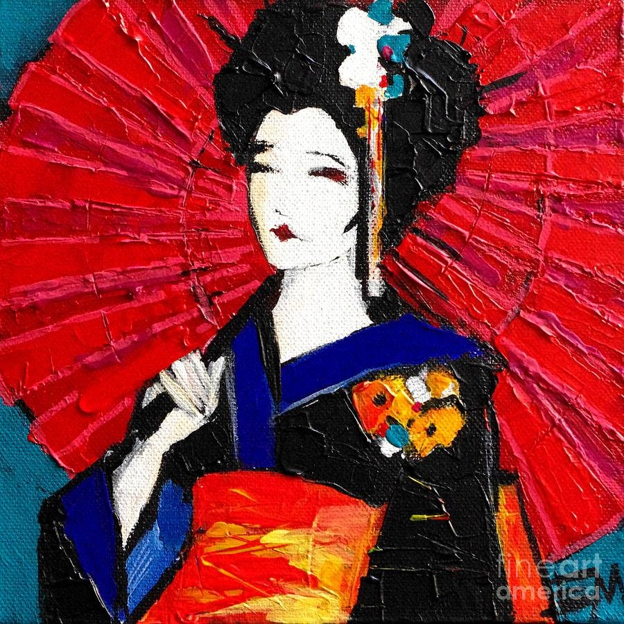 Geisha Paintingmona Edulesco Intended For 2018 Geisha Canvas Wall Art (View 11 of 20)