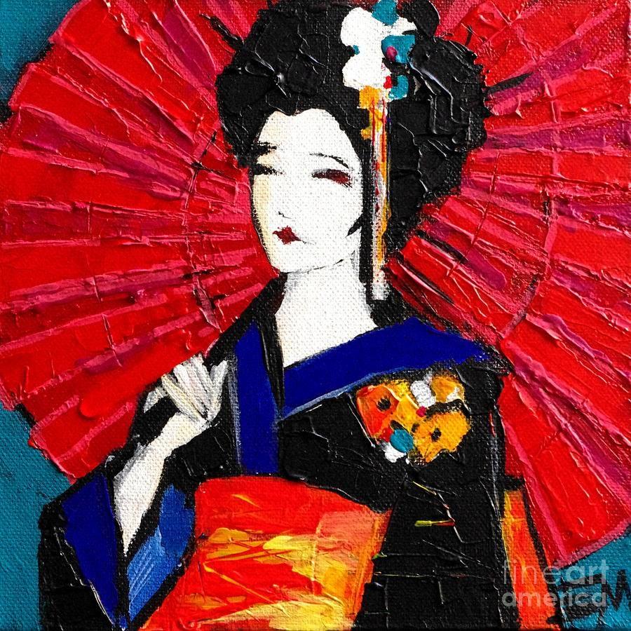 Geisha Paintingmona Edulesco Intended For 2018 Geisha Canvas Wall Art (View 10 of 20)