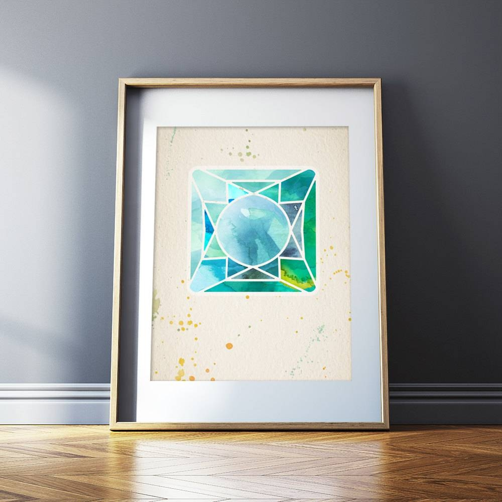 Gemstone Wall Art Geometric Art Print Modern Wall Art Water Throughout Latest Gemstone Wall Art (View 16 of 31)