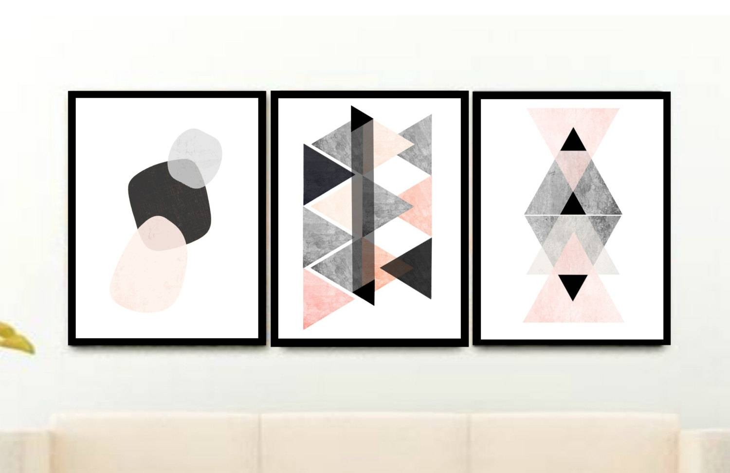 Geometric Art Prints Triptych Printable Art Abstract Art Pertaining To 2018 Wall Art Print Sets (Gallery 14 of 20)
