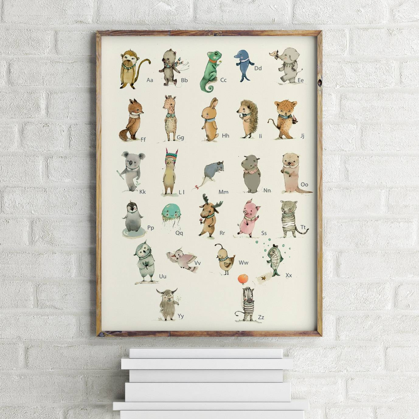 German Childrens Wall Art Print Abc Animals Alphabet Pertaining To Most Recently Released Etsy Childrens Wall Art (View 9 of 20)