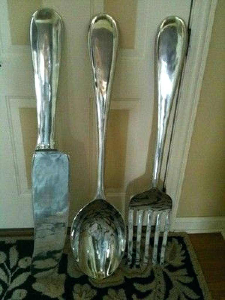 Giant Knife And Fork Wall Art Fork Knife Spoon Canvas Wall Art Regarding Latest Oversized Cutlery Wall Art (View 5 of 20)