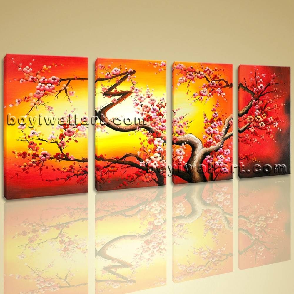 Giclee Print Abstract Plum Tree Blossom Painting Canvas Wall Art In Recent Large Yellow Wall Art (Gallery 2 of 20)