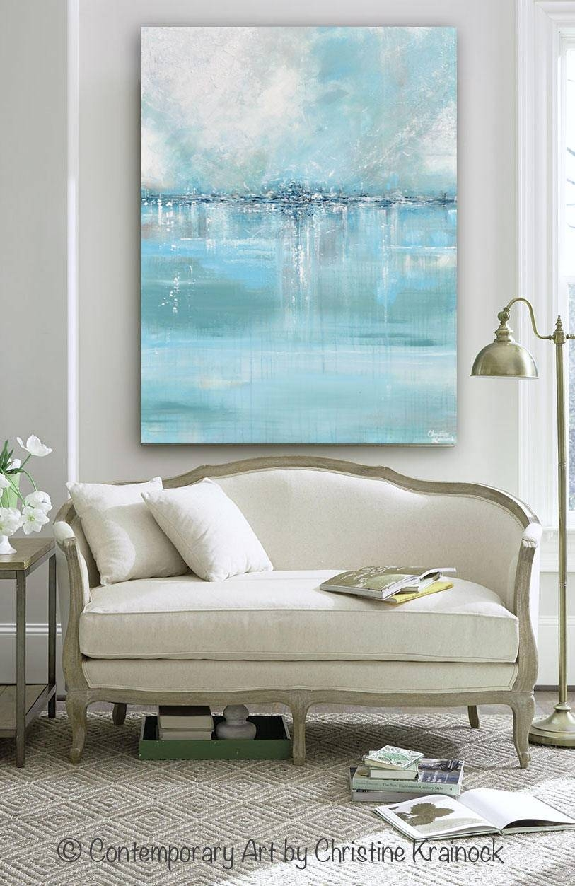 Giclee Print Large Art Abstract Painting Blue White Grey Wall Regarding Latest Coastal Wall Art (View 6 of 12)